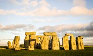 Stonehenge with sun shining on it