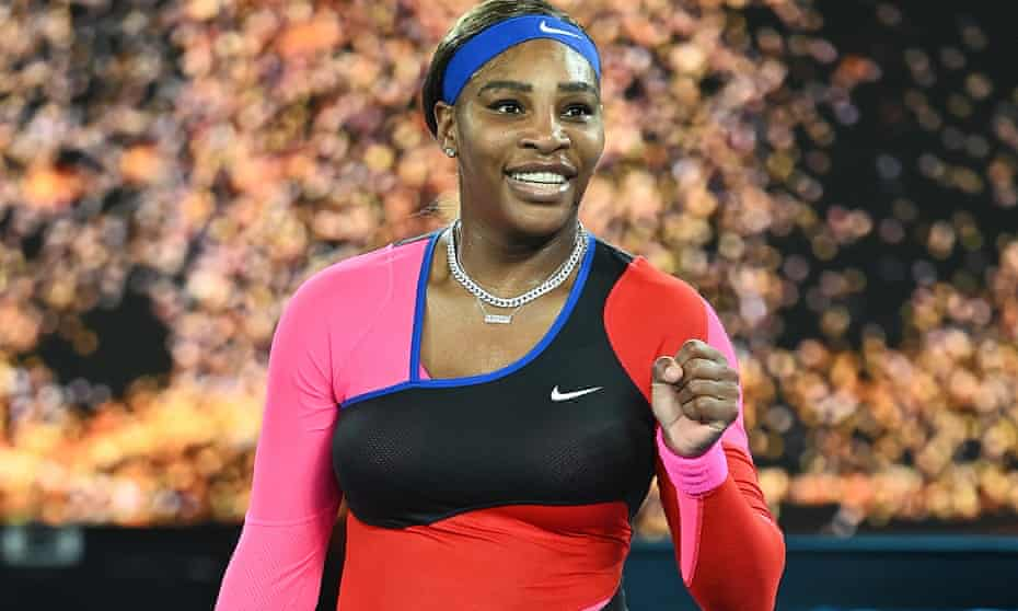 Serena Williams celebrates after her victory over Simona Halep