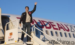 Canadian Liberal leader Justin Trudeau steps off his campaign plane on election day in Montreal.