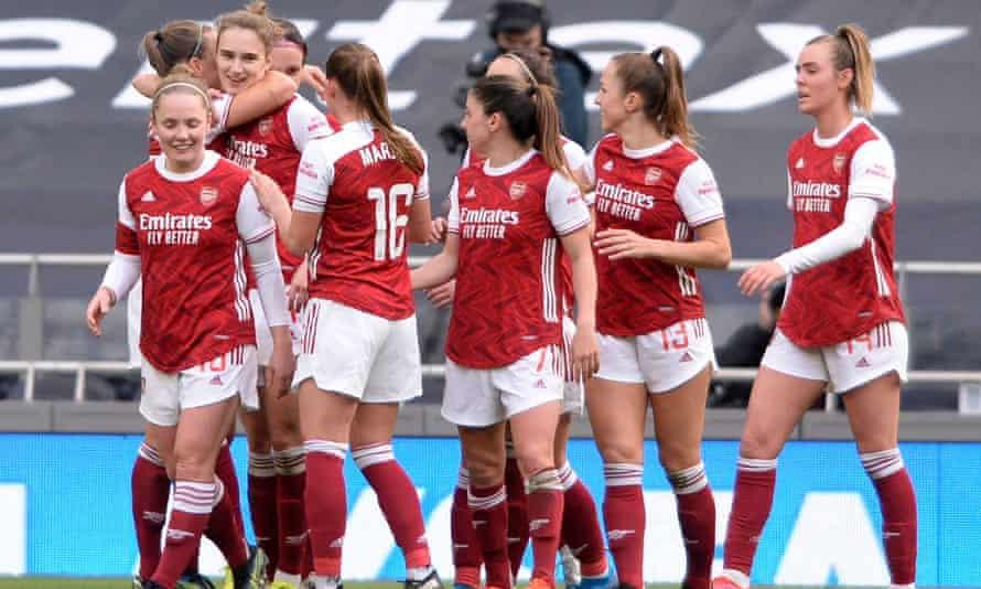 Arsenal Women celebrate during their recent 3-0 victory over Tottenham Hotspur Women.