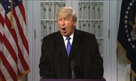 Alec Baldwin returns to skewer Trump on SNL – video
