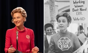 Cate Blanchett, wearing an Equal Rights Amendment pin, and the real Phyllis Schlafly pictured in 1975.