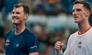 Jamie Murray and Joe Salisbury celebrate winning a set point during their doubles match against Radu Albot and Alexander Cozbinov.