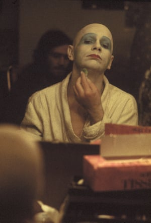 Kemp adjusts his makeup in his dressing room during a run of the play Flowers at the Bush theatre, London, January 1974