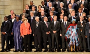 Heads of EU and African member states gather for a group photo in Valletta, Malta.