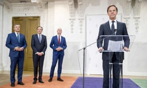 From right: Dutch PM Mark Rutte of the People's Party for Freedom and Democracy, Gert-Jan Segers of the Christian Union, Alexander Pechtold of D66 and Sybrand Buma of the Christian Democrats present their government pact in The Hague on Tuesday.