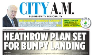 City AM front page from 1 December 2015