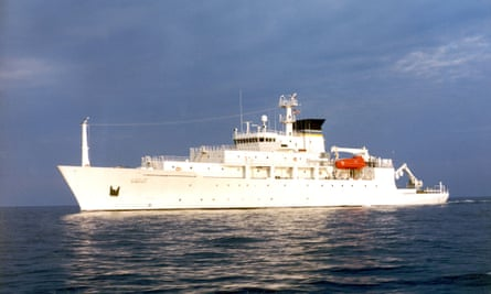 The oceanographic survey ship, USNS Bowditch, from which the underwater drone was deployed.