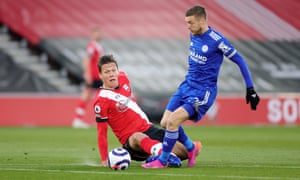 Jamie Vardy of Leicester City is brought down by Jannik Vestergaard of Southampton resulting in the Southampton player being shown a red card .