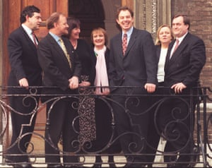 Members of Labour's shadow cabinet in 1996, the year before New Labour were elected: (left to right) Gordon Brown, Robin Cook, Clare Short, Tessa Jowell, Tony Blair, Mo Mowlam and John Prescott