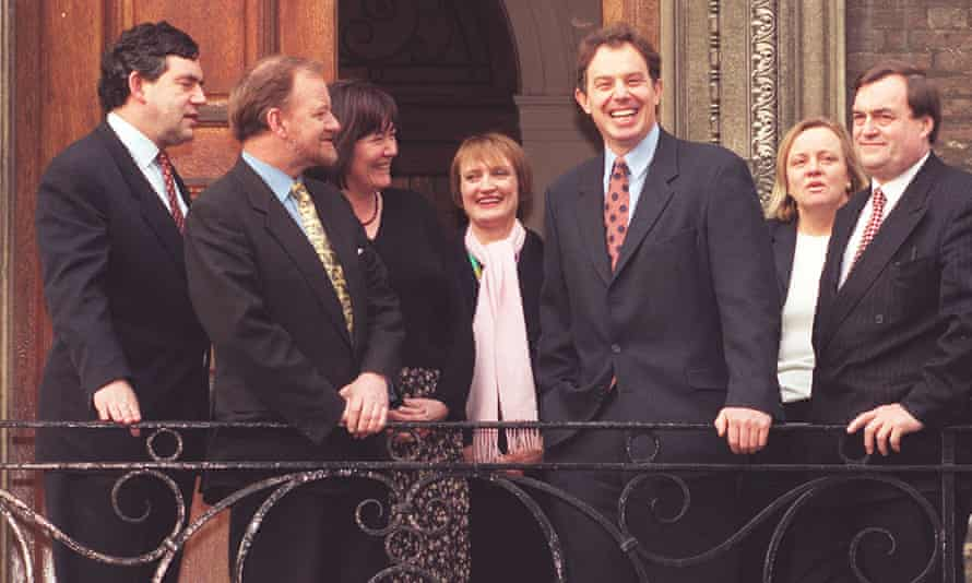 Tony Blair (third from right) and shadow cabinet members.