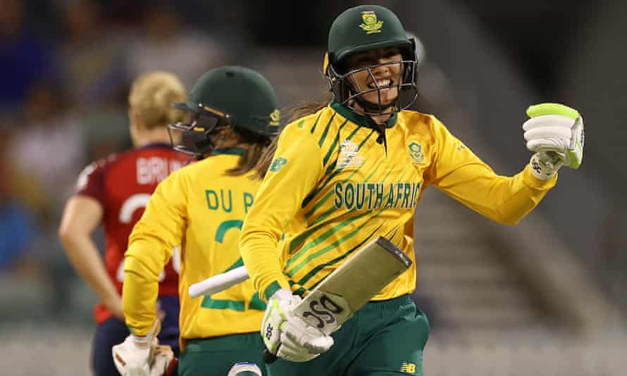Sune Luus of South Africa celebrates after Mignon du Preez hit the winning runs to overcome England at the Waca.