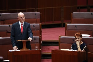 Senator David Leyonhjelm gives his valedictory speech in the senate chamber of Parliament House