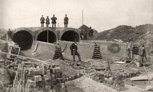 Joseph Bazalgette (top right) at the northern outfall sewer being built below London's Abbey Mills pumping station.