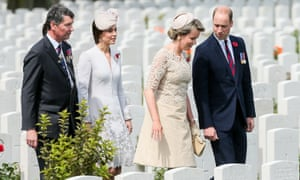 The Duke and Duchess Of Cambridge and Queen Mathilde of Belgium at Tyne Cot cemetery