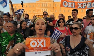 Supporters of a no vote in Greece's referendum on its bailout outside the Greek parliament in Athens last summer