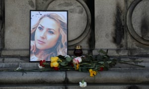 Flowers and candles placed in memory of Viktoria Marinova in Ruse