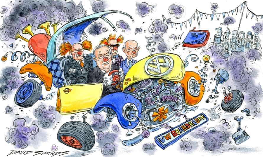 Cartoon by David Simonds showing VW executives driving a collapsing Beetle