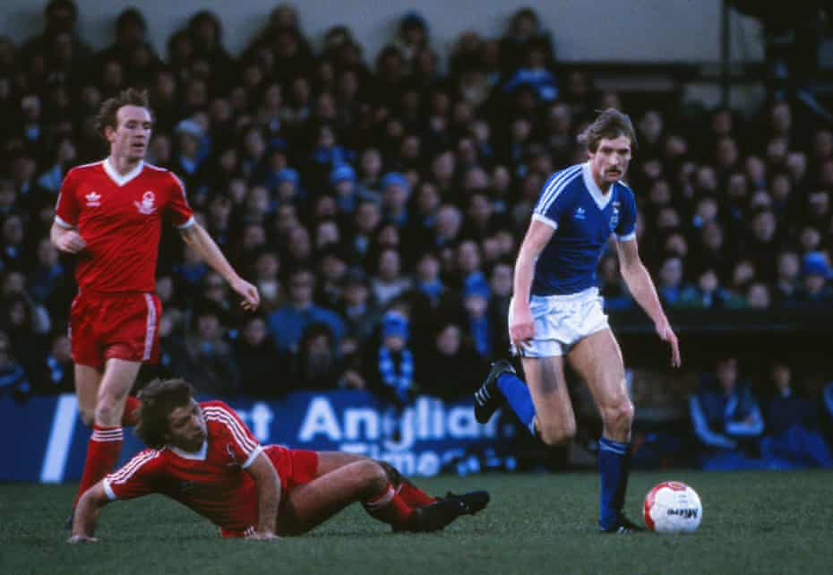 Frans Thijssen surges past David Needham during Ipswich's 1-0 win over Nottingham Forest in the FA Cup.