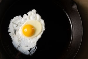 Fried egg cooking in a pan