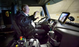 Johan Tofeldt at the wheel of Volvo's driverless truck.