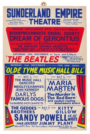 Window card for a performance at the Sunderland Empire Theatre, 30 November 1963 The Beatles' two appearances at the Sunderland Empire Theatre (6 p.m. and 8.30 p.m.) on 30 November were part of a 10 month tour around BritainEstimate: £6,000-8,000