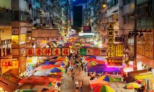 Busy street market at Fa Yuen Street in Mong Kok, Kowloon, Hong Kong.