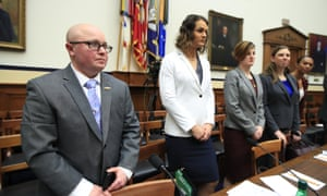 From left, military members Blake Dremann, Alivia Stehlik, Aennifer Peace, Patricia King and Akira Wyatt, are briefed at the hearing.