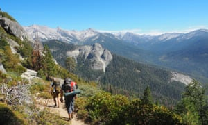 Setting off from Crescent Meadow, with the mountains of the Great Western Divide in the distance, High Sierra Trail , Sierra Nevada