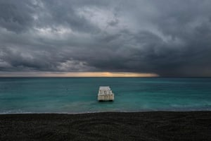 Clouds pass over the Mediterranean Sea in the French Riviera city of Nice.