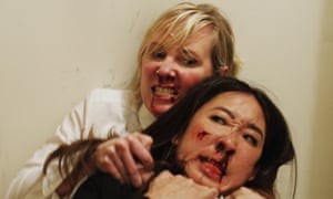 Bloody battle: Anne Heche and Sandra Oh duke it out in Catfight.