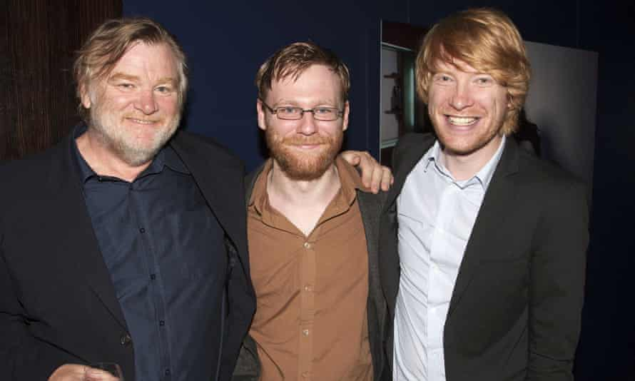 Brian and Domhnall with dad Brendan Gleeson (left).