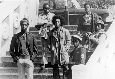 The Wailers in London in 1973 ... (from left) Peter Tosh, Aston 'Family Man' Barrett, Bob Marley, Earl Lindo, Carlton Barrett and Bunny Wailer.