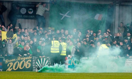 Celtic supporters during their team's 3-0 win at Stranraer in the Scottish Cup on  Sunday