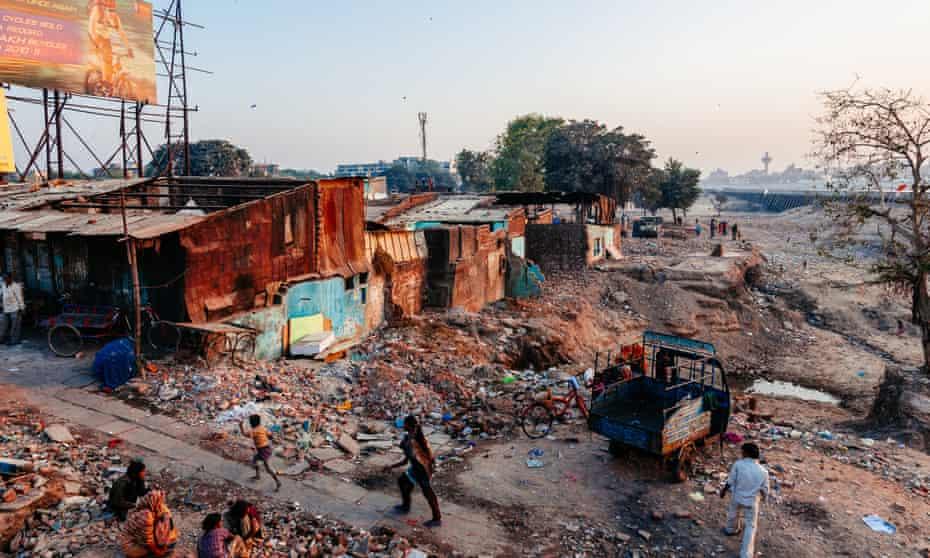 Slum at dusk, Ahmedabad.