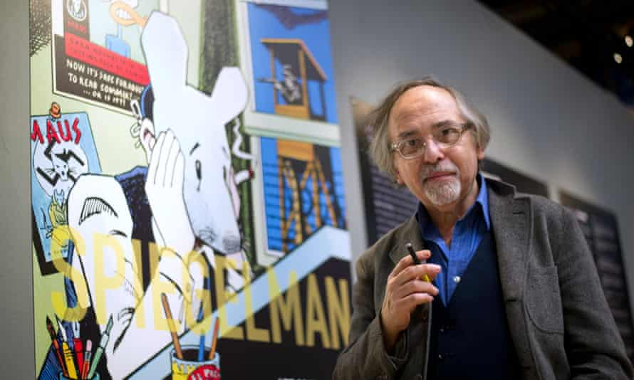 """-US comic book artist Art Spiegelman poses on March 20, 2012 in Paris, prior to the private viewing of his exhibition 'Co-Mix', which will run from March 21 to May 21, 2012 at the Pompidou centre. The Swedish-born New Yorker Spiegelman, 62, is known as the creator of """"Maus"""", an animal fable of his Jewish father's experience in the Holocaust -- the only comic book to have won a Pulitzer Prize, the top US book award. AFP PHOTO / BERTRAND LANGLOIS"""