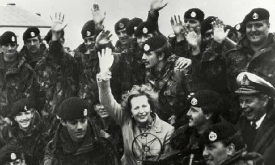 Margaret Thatcher in South America: visiting British troops on the Falkland Islands in 1983.