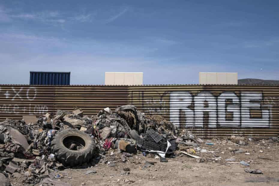 The border fence near wall prototypes at the US-Mexico border in Tijuana.