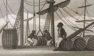 Men at Bristol unloading sugar from the West Indies, 1823