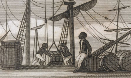 Men at Bristol unloading sugar from the West Indies (1823)