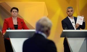 Sadiq Khan (right) confronts Boris Johnson during the BBC's EU Referendum 'Great Debate', with Ruth Davidson watching.