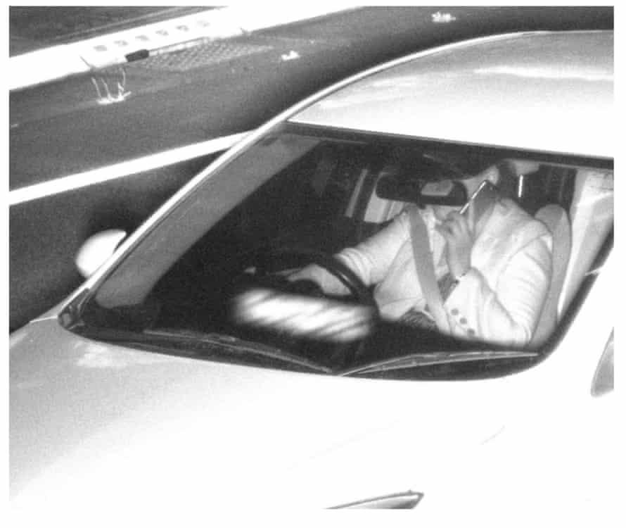 A driver using a phone