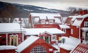 Åre Village mountain resort Sweden, in the snow.