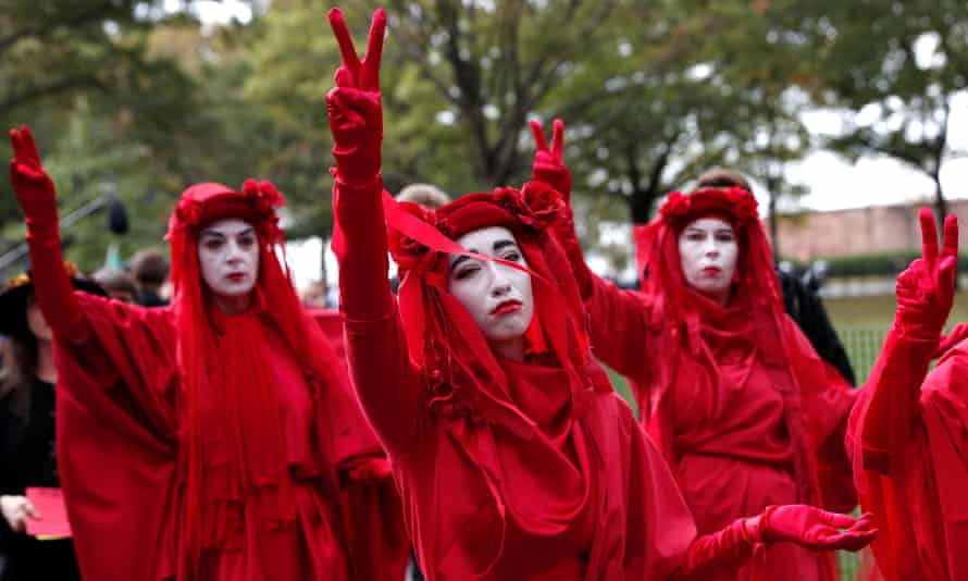 Climate crisis activists demonstrate in New York City where Extinction Rebellion organizers expect several thousand to congregate this week.