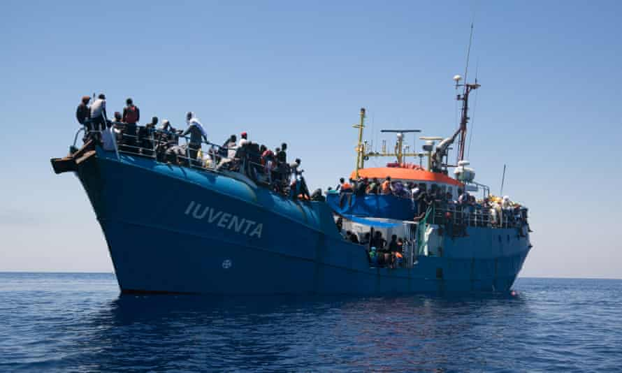 The Iuventa in the Mediterranean with 447 rescued people onboard, July 2016