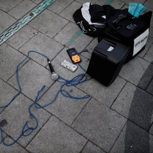A microphone and speakers at a street performance in the Hongdae area of Seoul