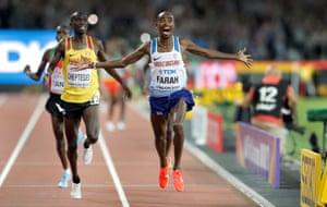 Great Britain's Mo Farah wins the men's 10,000m final.