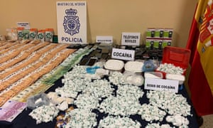 Evidence seized in an operation against a drug trafficking network in Madrid.