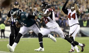 Nick Foles is forced out of bounds after catching a pass against the Atlanta Falcons