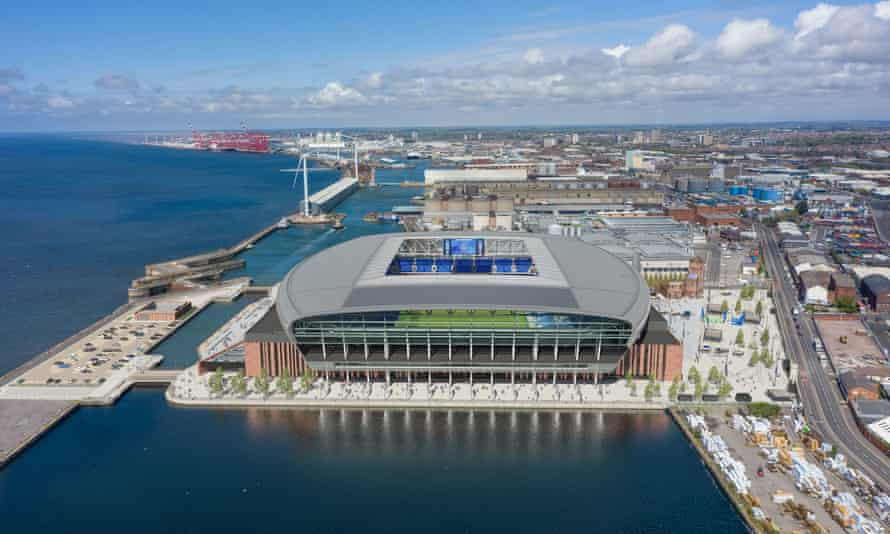 An artist's impression of Everton's proposed stadium at Bramley-Moore Dock.